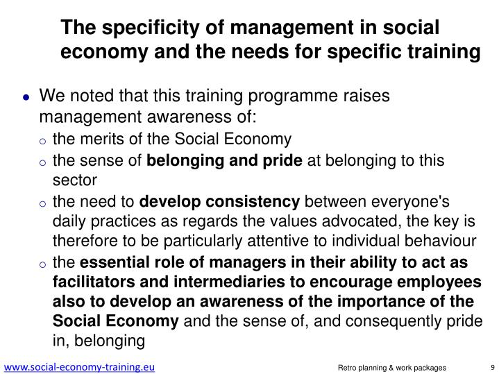 The specificity of management in social economy and the needs for specific training