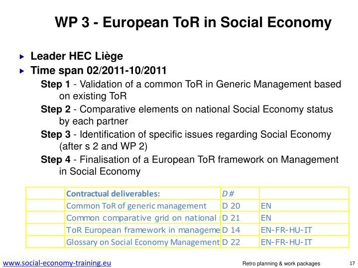 WP 3 - European ToR in Social Economy