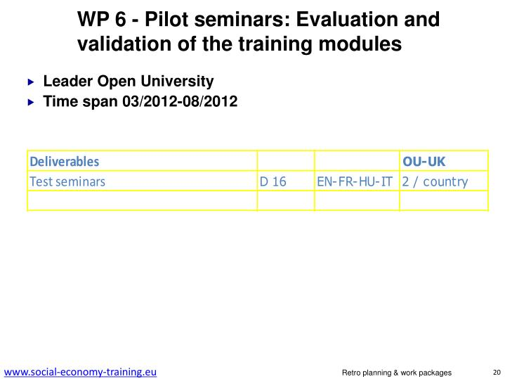 WP 6 - Pilot seminars: Evaluation and validation of the training modules