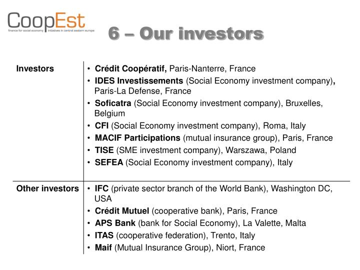 6 – Our investors