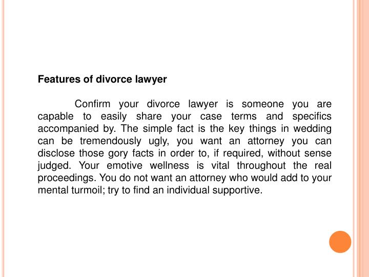 Features of divorce