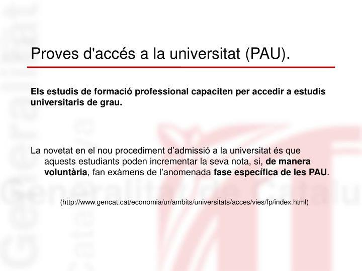 Proves d'accés a la universitat (PAU).