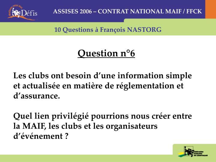 ASSISES 2006 – CONTRAT NATIONAL MAIF / FFCK