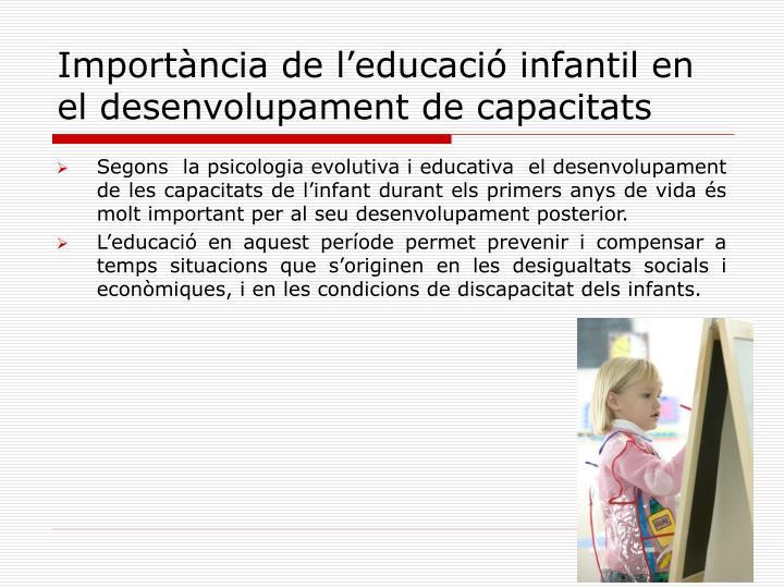 Importància de l'educació infantil en el desenvolupament de capacitats