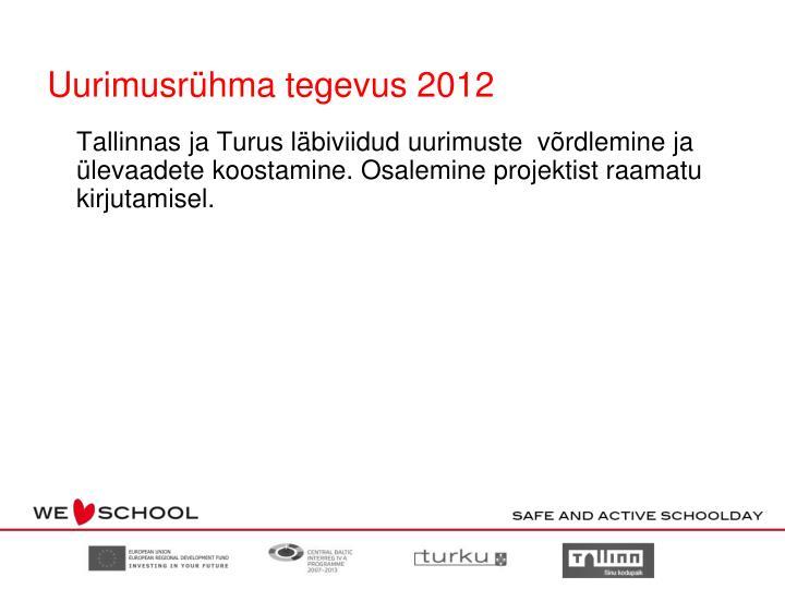 Uurimusrühma tegevus 2012