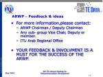 arwp feedback ideas