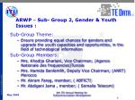 arwp sub group 2 gender youth issues