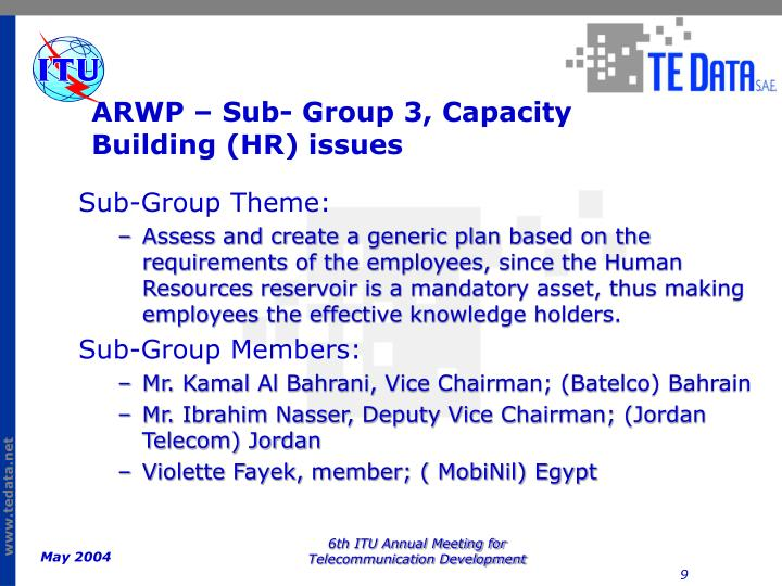 ARWP – Sub- Group 3, Capacity Building (HR) issues