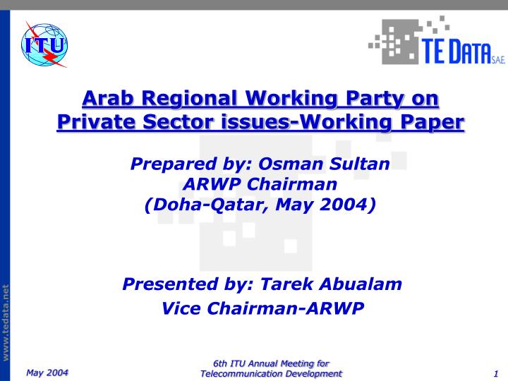 Arab Regional Working Party on Private Sector issues-Working Paper