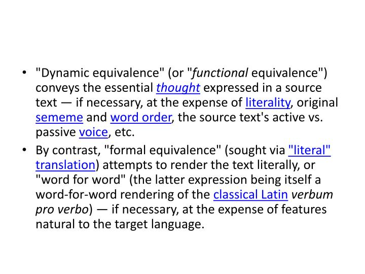 """""""Dynamic equivalence"""" (or """""""