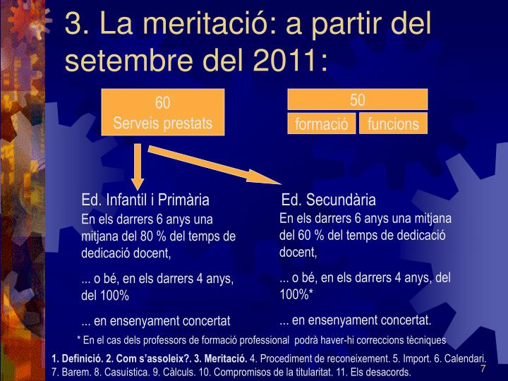 3. La meritació: a partir del setembre del 2011: