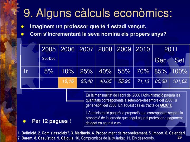 9. Alguns càlculs econòmics: