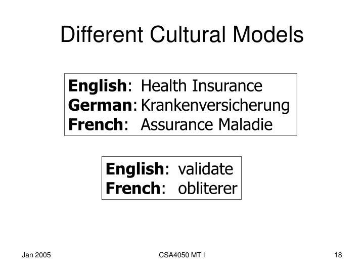 Different Cultural Models