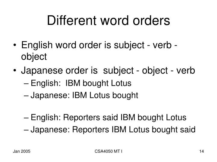 Different word orders