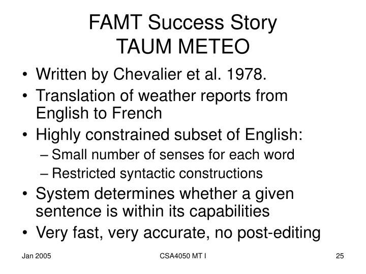 FAMT Success Story