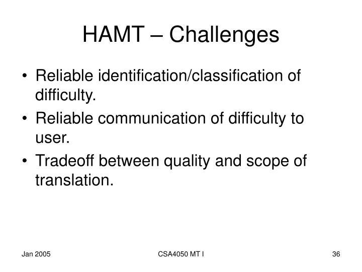 HAMT – Challenges