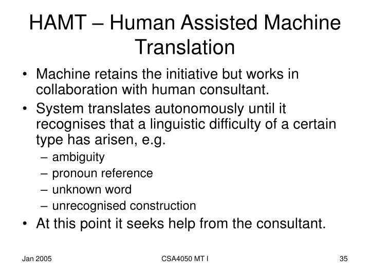 HAMT – Human Assisted Machine Translation