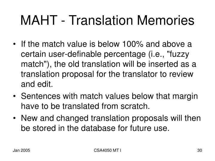 MAHT - Translation Memories
