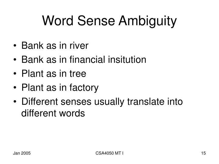 Word Sense Ambiguity