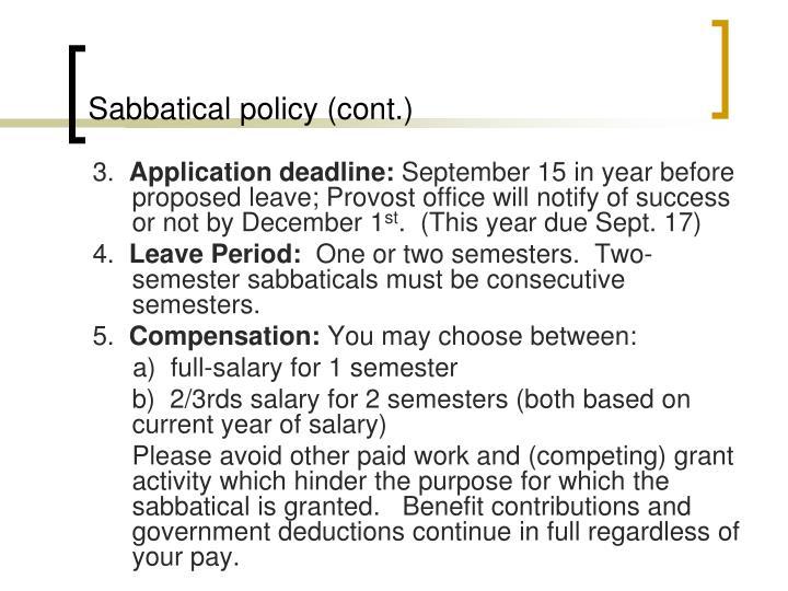 Sabbatical policy (cont.)