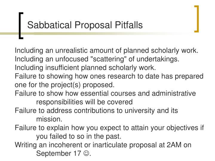 Sabbatical Proposal Pitfalls