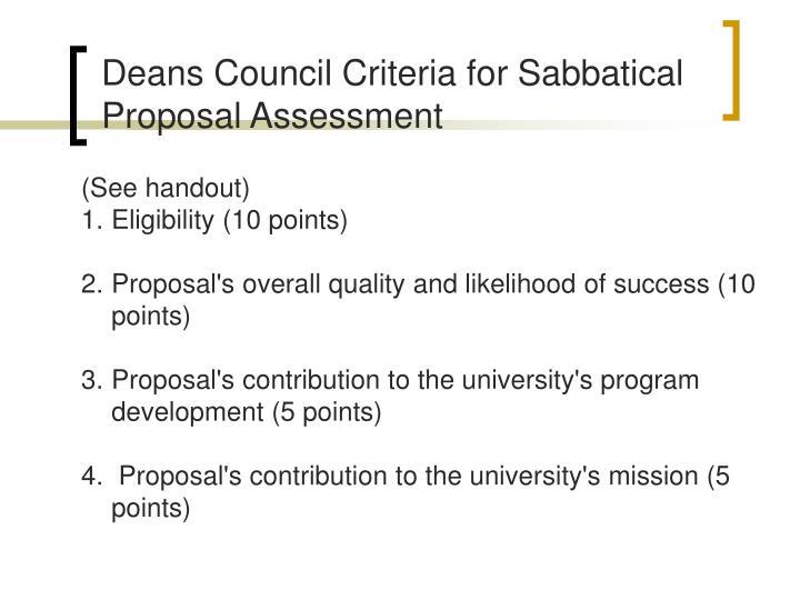 Deans Council Criteria for Sabbatical Proposal Assessment