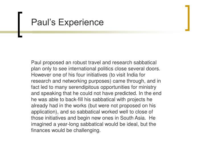 Paul's Experience