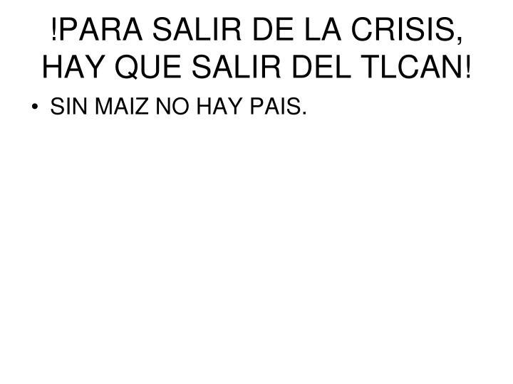 !PARA SALIR DE LA CRISIS, HAY QUE SALIR DEL TLCAN!