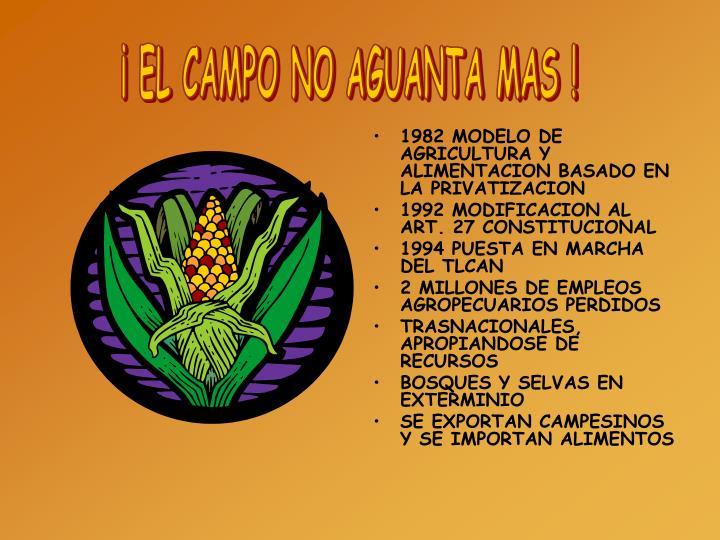 1982 MODELO DE AGRICULTURA Y ALIMENTACION BASADO EN LA PRIVATIZACION
