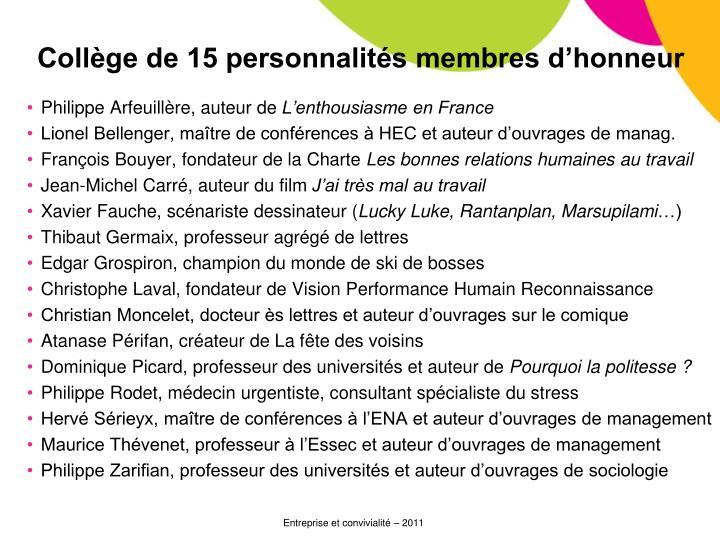 Collège de 15 personnalités membres d'honneur