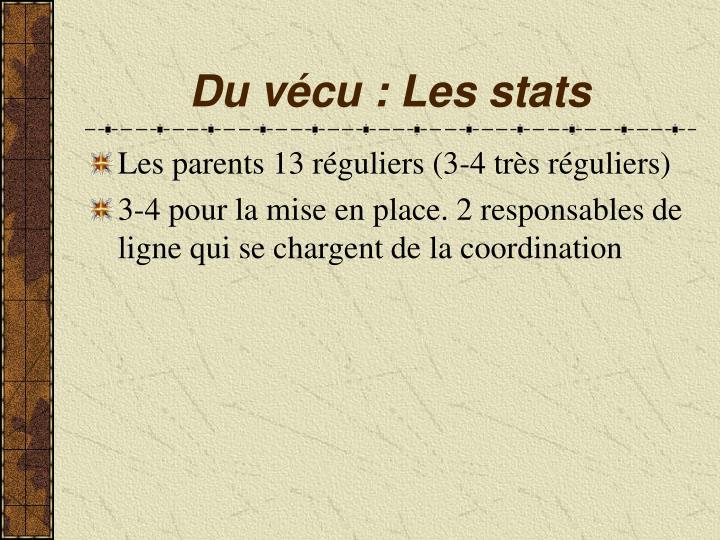Du vécu : Les stats