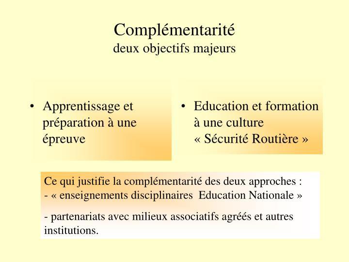 Education et formation à une culture «Sécurité Routière»
