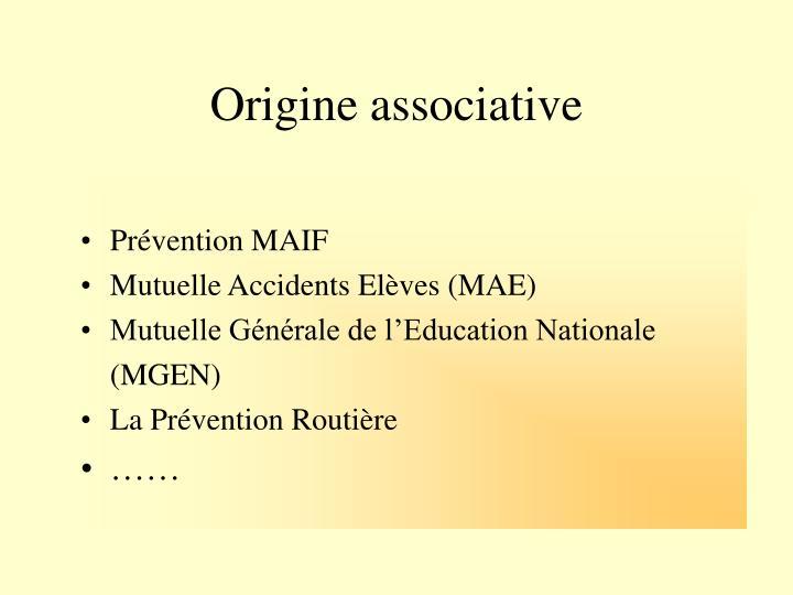 Origine associative