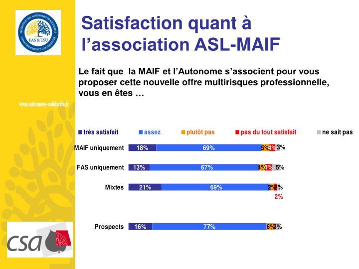 Satisfaction quant à l'association ASL-MAIF