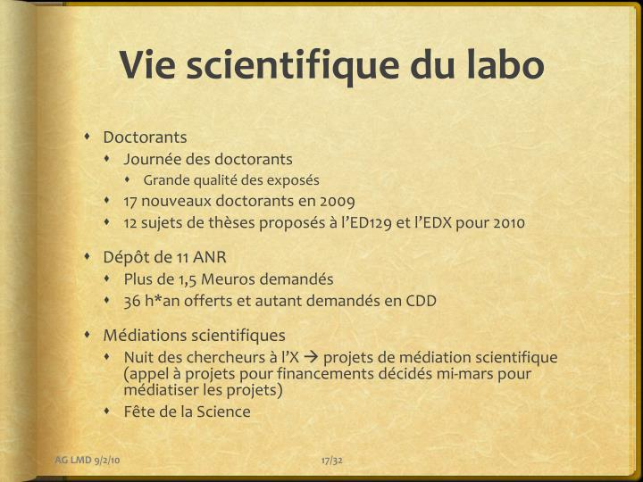 Vie scientifique du labo