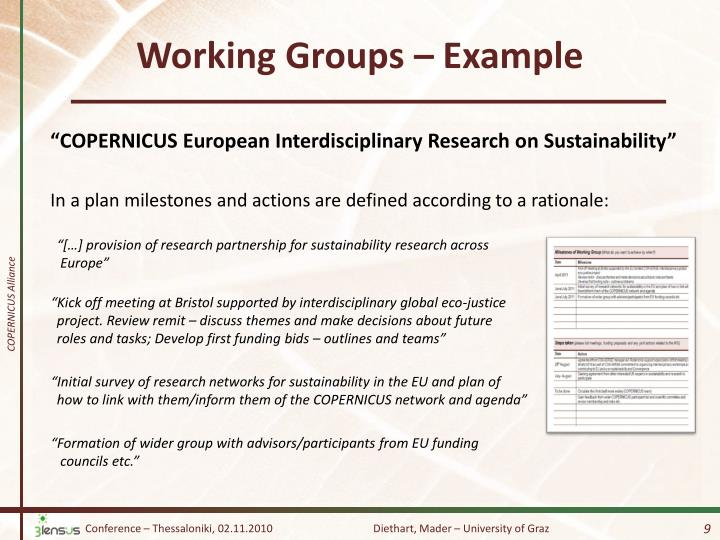 Working Groups –