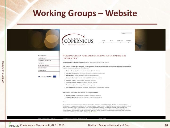 Working Groups – Website