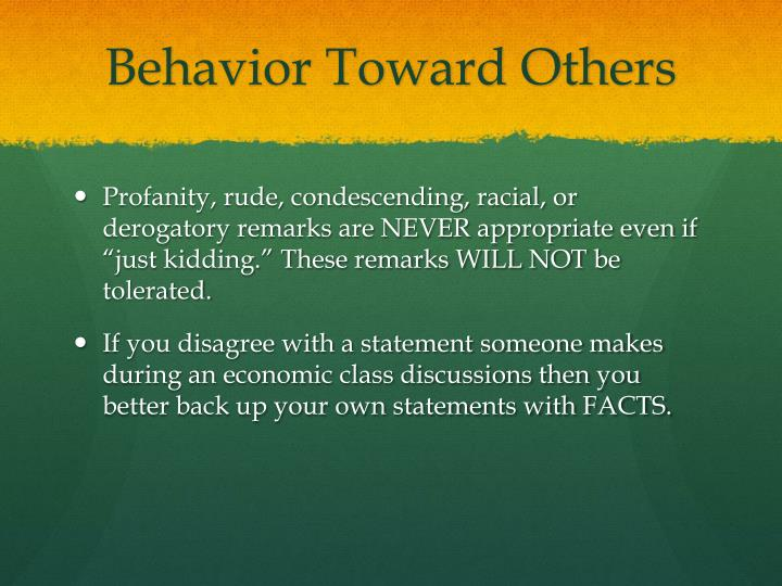 Behavior Toward Others