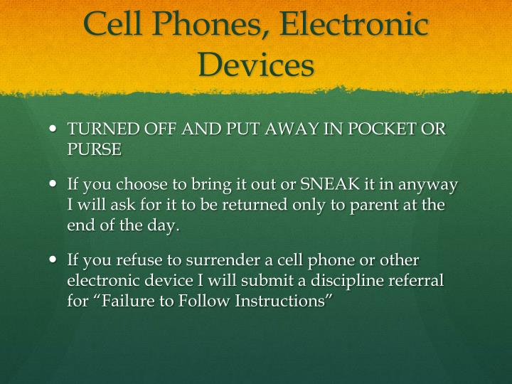 Cell Phones, Electronic Devices