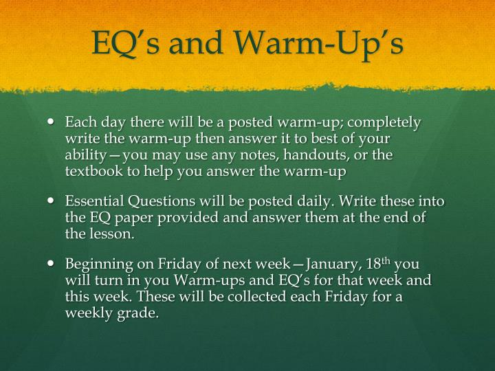 EQ's and Warm-Up's
