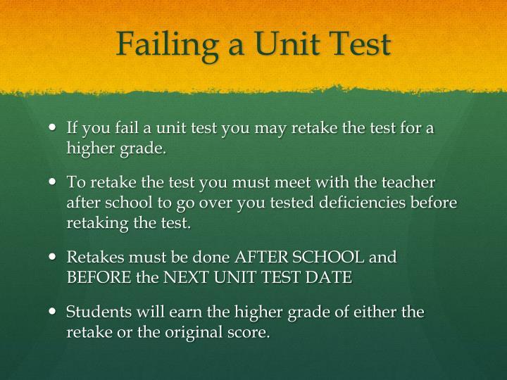 Failing a Unit Test