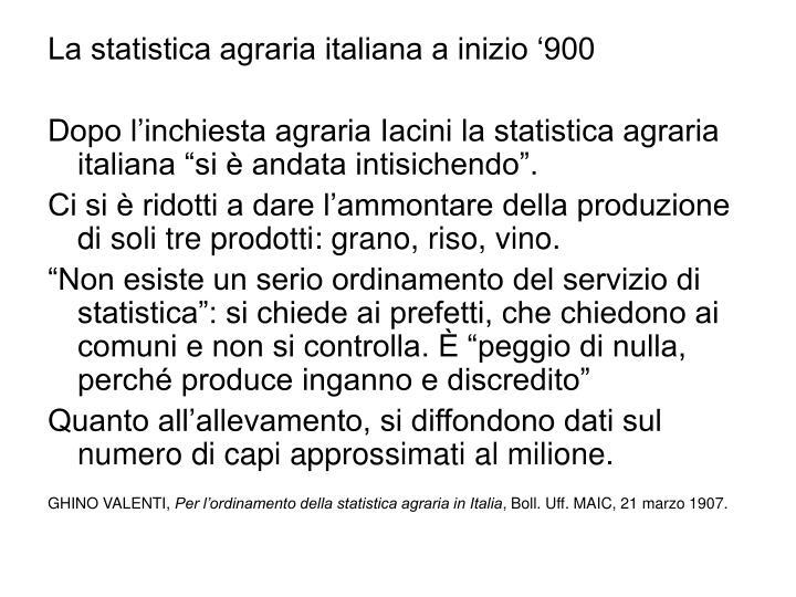 La statistica agraria italiana a inizio '900
