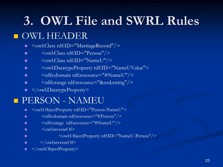 3.  OWL File and SWRL Rules