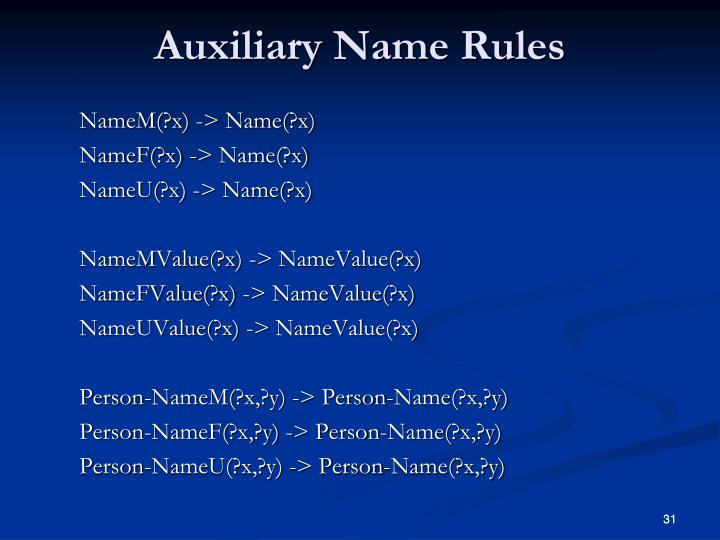 NameM(?x) -> Name(?x)