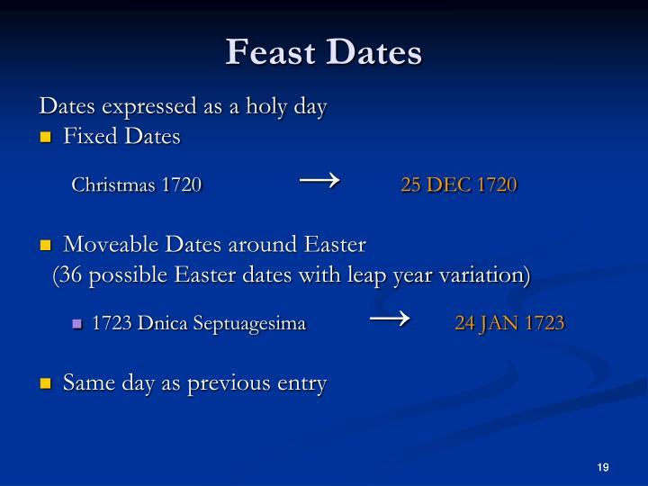 Feast Dates