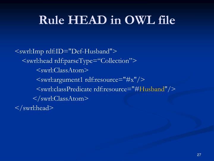 Rule HEAD in OWL file