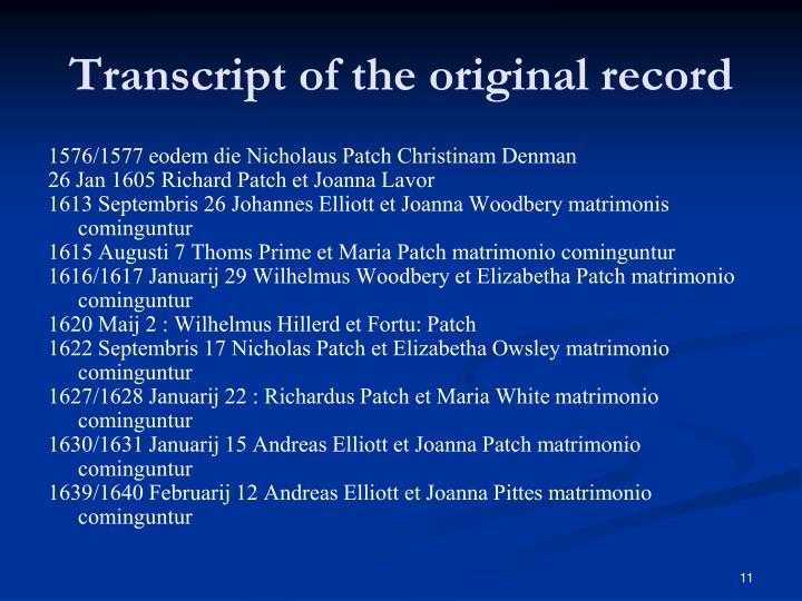 Transcript of the original record