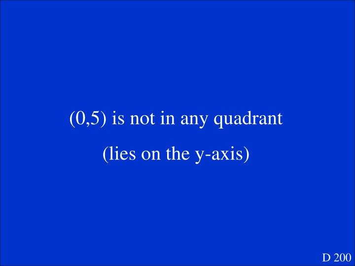 (0,5) is not in any quadrant