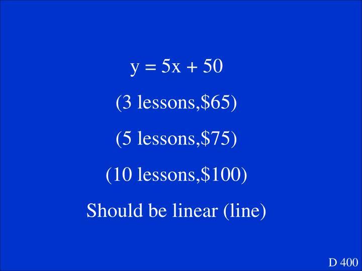 y = 5x + 50