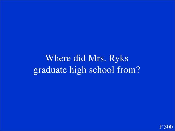Where did Mrs. Ryks graduate high school from?